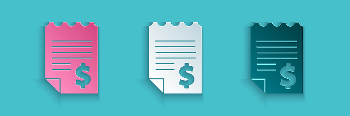 Paper cut Paper or financial check icon isolated on blue background. Paper print check, shop receipt or bill. Paper art style. Vector Illustration