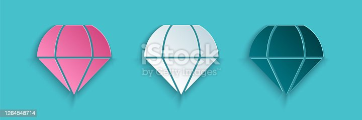 Paper cut Parachute icon isolated on blue background. Paper art style. Vector Illustration