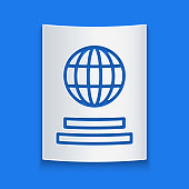 Paper cut Passport with biometric data icon isolated on blue background. Identification Document. Paper art style. Vector Illustration