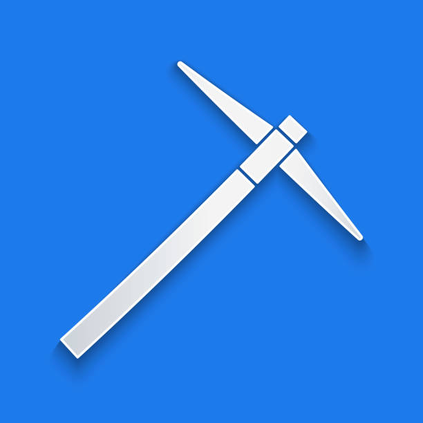 Paper cut Pickaxe icon isolated on blue background. Paper art style. Vector Illustration Paper cut Pickaxe icon isolated on blue background. Paper art style. Vector Illustration mattock stock illustrations