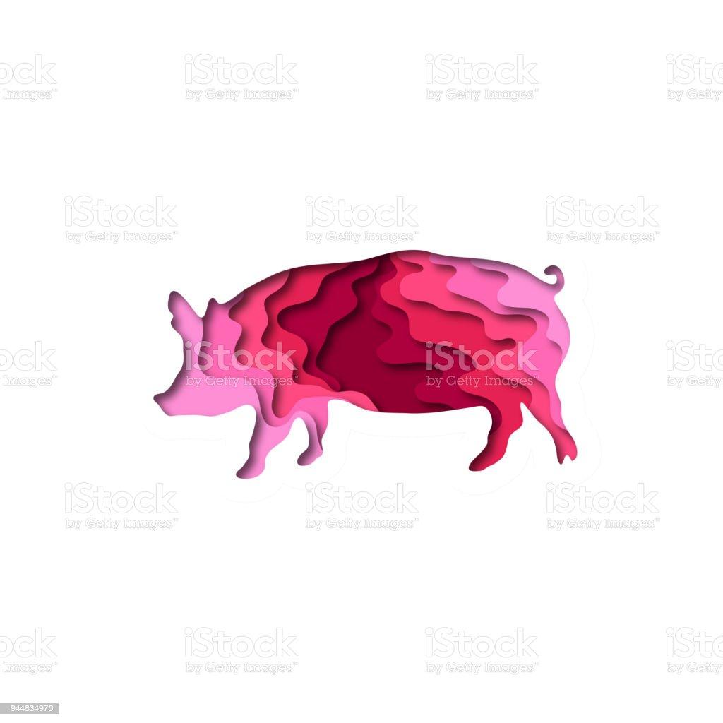 Paper Cut Pig Shape 3d Origami Trendy Concept Fashion ...