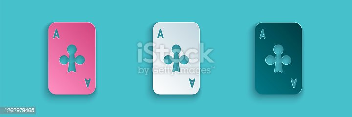 istock Paper cut Playing card with clubs symbol icon isolated on blue background. Casino gambling. Paper art style. Vector Illustration 1262979465