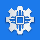 Paper cut Processor icon isolated on blue background. CPU, central processing unit, microchip, microcircuit, computer processor, chip. Paper art style. Vector Illustration