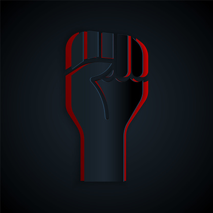 Paper cut Raised hand with clenched fist icon isolated on black background. Protester raised fist at a political demonstration. Empowerment. Paper art style. Vector