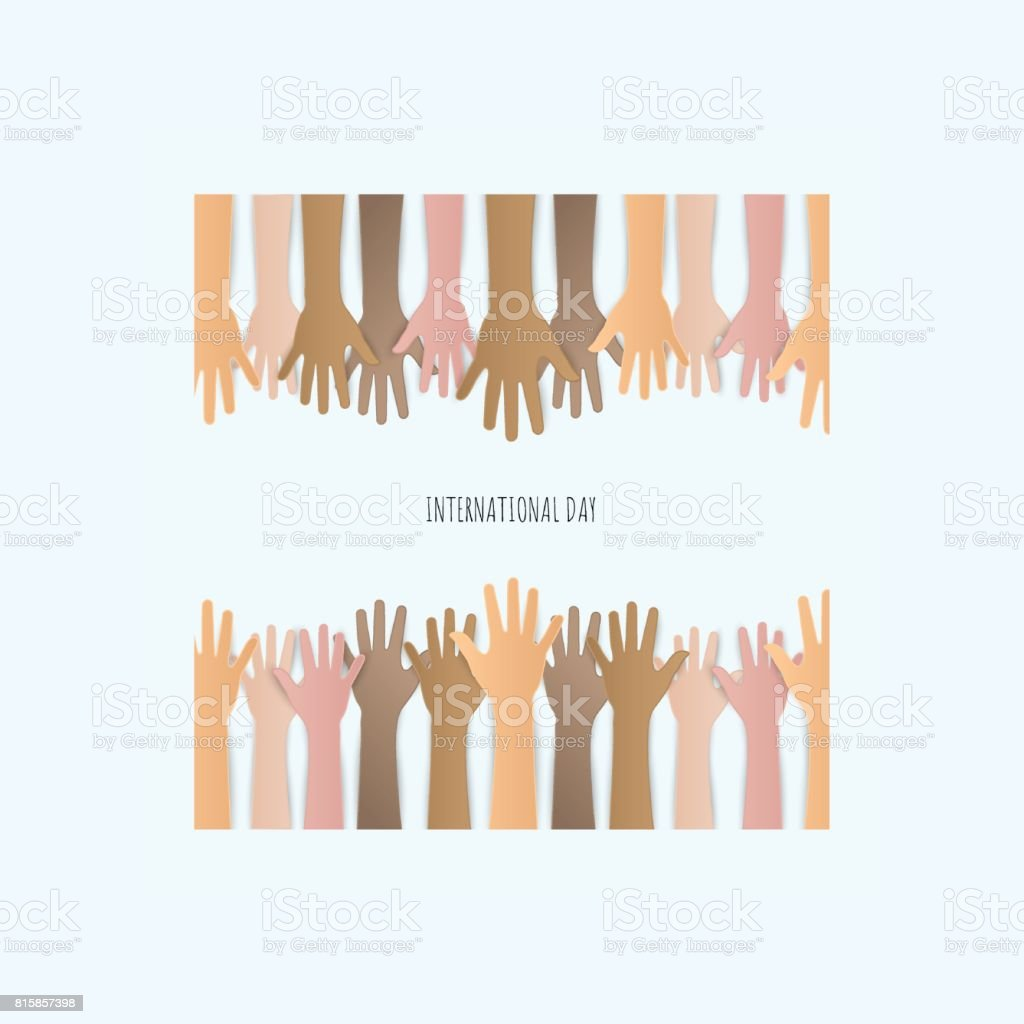 Paper cut Raised hands up together with different skin tone of many peoples concept of democracy vector art illustration