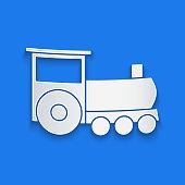 Paper cut Retro train icon isolated on blue background. Public transportation symbol. Paper art style. Vector Illustration