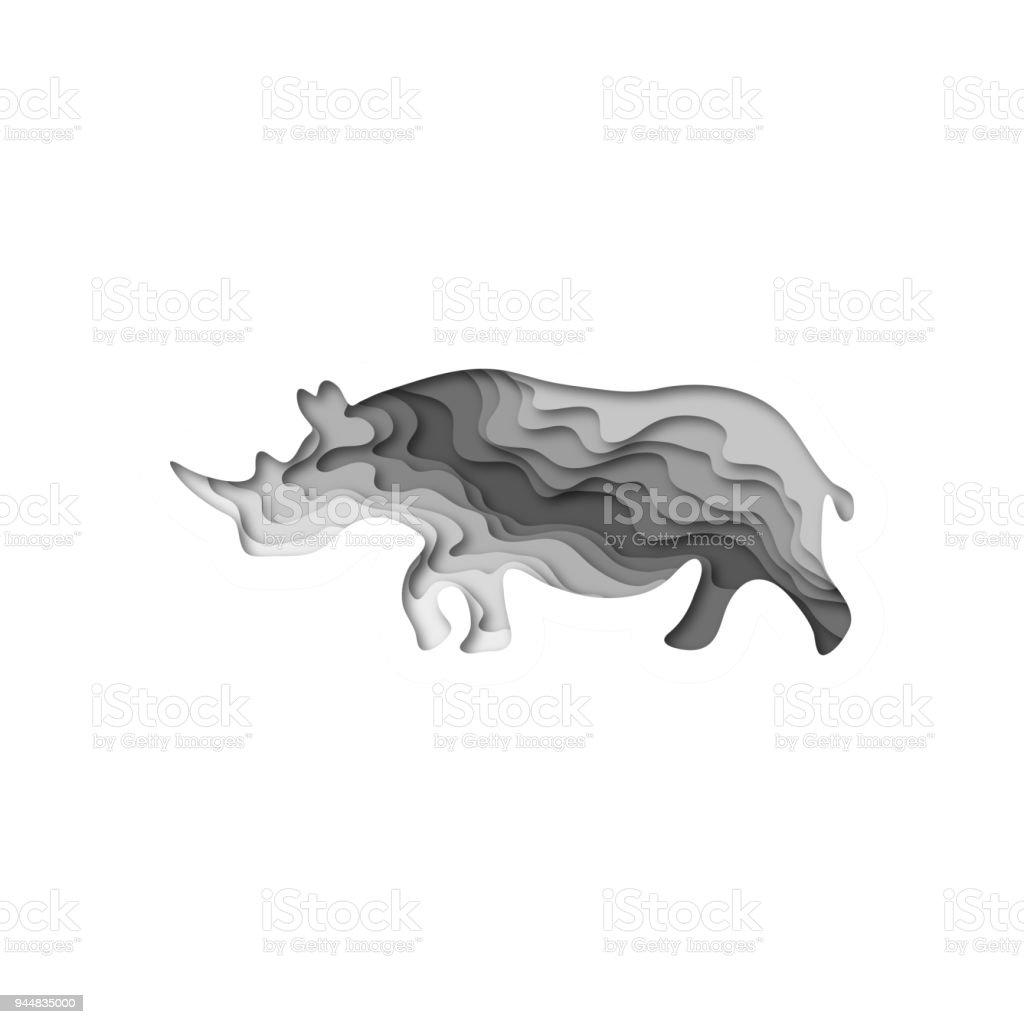 Paper cut rhinoceros, safari animals shape 3D origami  Trendy concept