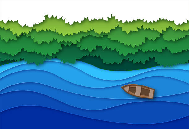 paper cut river. top view water stream and green tropical forest trees canopy. creative origami natural aerial vector landscape - river paper stock illustrations, clip art, cartoons, & icons