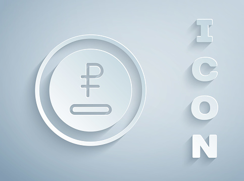 Paper cut Rouble, ruble currency coin icon isolated on grey background. Russian symbol. Paper art style. Vector
