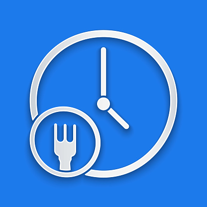 Paper cut Round the clock delivery icon isolated on blue background. Paper art style. Vector Illustration