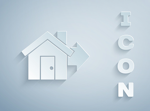 Paper Cut Sale House Icon Isolated On Grey Background Buy House Concept Home Loan Concept Rent Buying A Property Paper Art Style Vector Illustration Stock Illustration Download Image Now Istock