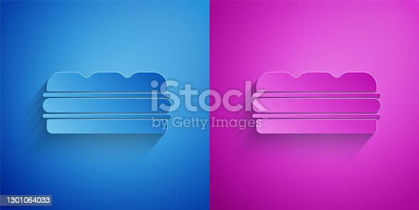 istock Paper cut Sandwich icon isolated on blue and purple background. Hamburger icon. Burger food symbol. Cheeseburger sign. Street fast food menu. Paper art style. Vector 1301064033