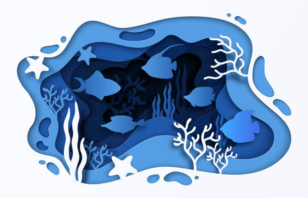 紙カット海の背景。波魚や海藻、3d 漫画夏のポスターと水中海洋サンゴ礁。水中のベクトル - 水族館点のイラスト素材/クリップアート素材/マンガ素材/アイコン素材