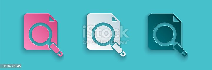 istock Paper cut Search concept with folder icon isolated on blue background. Magnifying glass and document. Data and information sign. Paper art style. Vector 1316778145