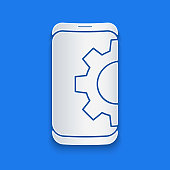 Paper cut Setting on smartphone icon isolated on blue background. Adjusting, service, setting, maintenance, repair, fixing. Paper art style. Vector Illustration