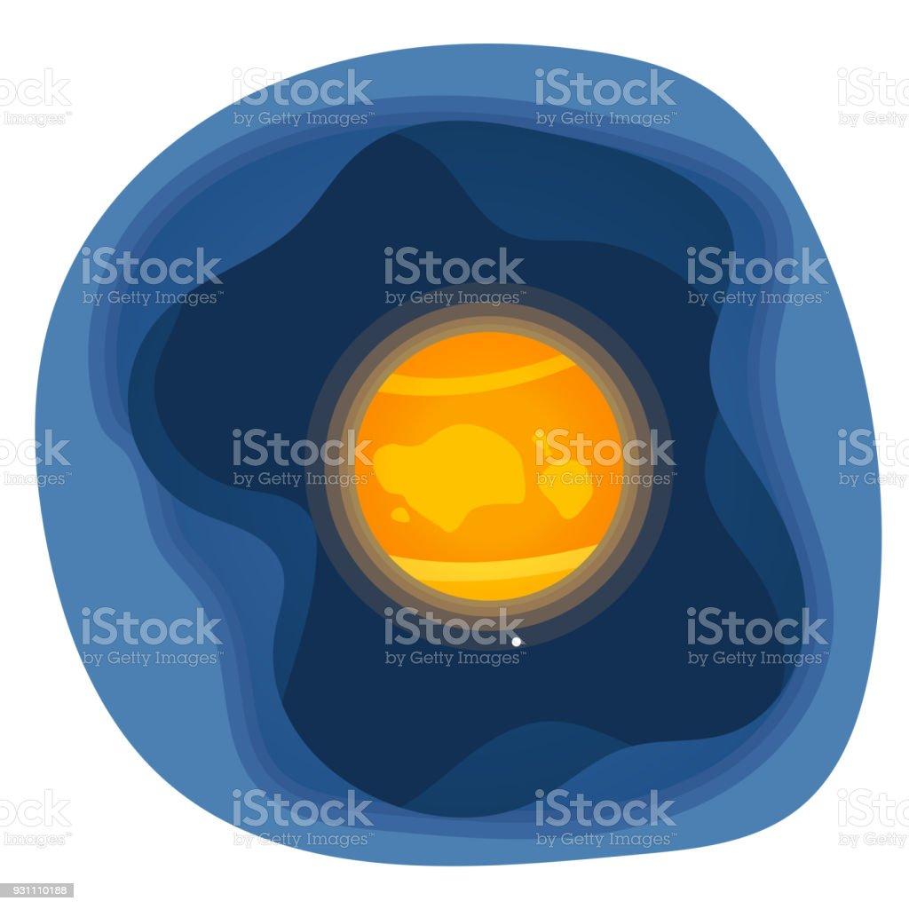 Kağıdı şekiller Venüs gezegeni Güneş sistemi simgesinin kesin. Vektör çizim. - Royalty-free Animasyon karakter Vector Art