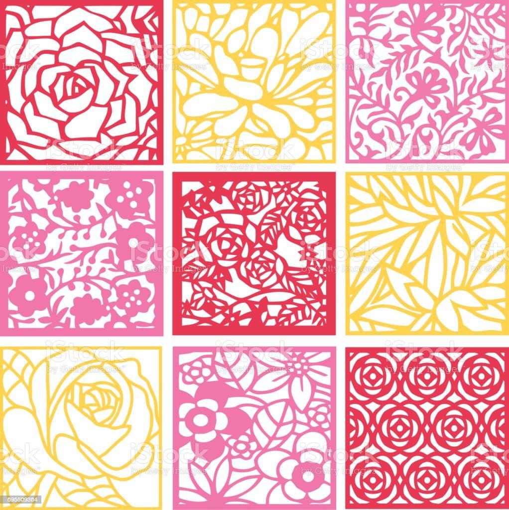 Paper Cut Silhouette Floral Fretwork Lattice Background Set vector art illustration