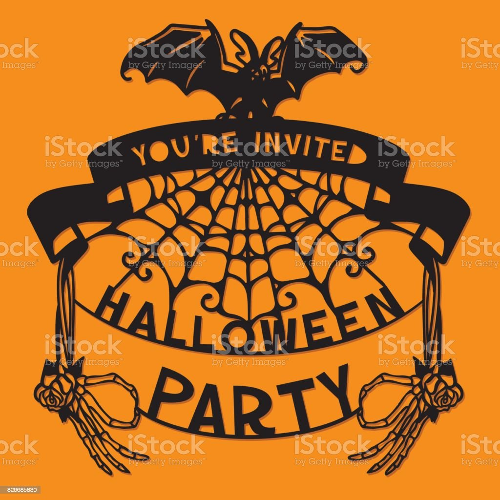 paper cut silhouette halloween bat spider web party invitation