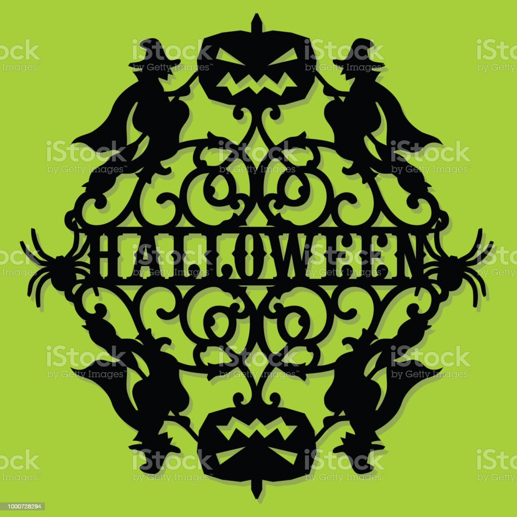paper cut silhouette halloween witch pumpkin invitation stock vector