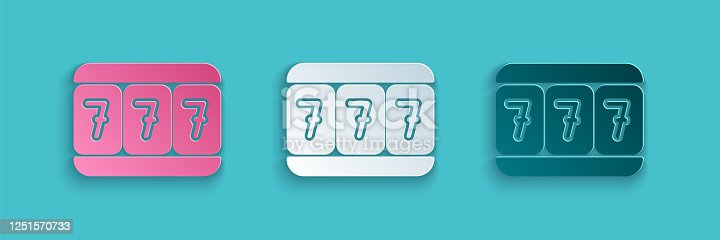 istock Paper cut Slot machine with lucky sevens jackpot icon isolated on blue background. Paper art style. Vector Illustration 1251570733