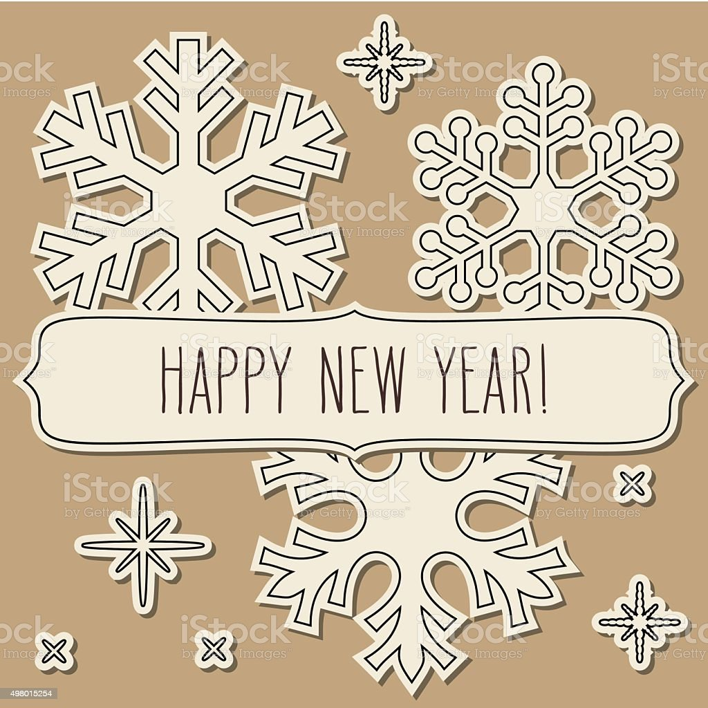 Paper Cut Snowflakes Frame And New Year Greetings stock vector art ...