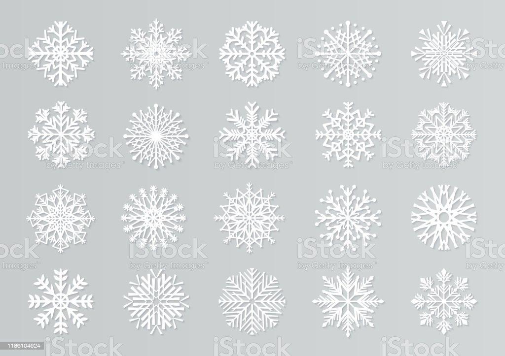 Papier geschnitten Schneeflocken. Weiße 3D Weihnachten Design-Vorlagen für Dekoration und Grußkarten. Vektorisoliertes Papierschneeset - Lizenzfrei Abstrakt Vektorgrafik