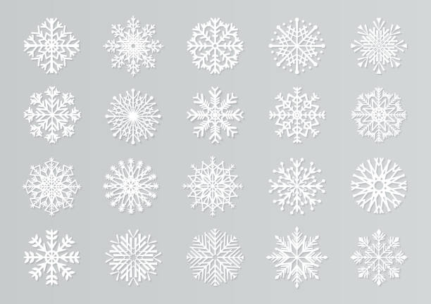 Paper cut snowflakes. White 3D Christmas design templates for decoration and greeting cards. Vector isolated paper snow set vector art illustration