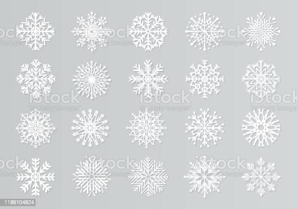 Papier Geschnitten Schneeflocken Weiße 3d Weihnachten Designvorlagen Für Dekoration Und Grußkarten Vektorisoliertes Papierschneeset Stock Vektor Art und mehr Bilder von Abstrakt