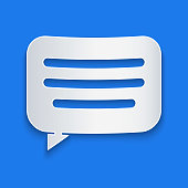Paper cut Speech bubble chat icon isolated on blue background. Message icon. Communication or comment chat symbol. Paper art style. Vector Illustration