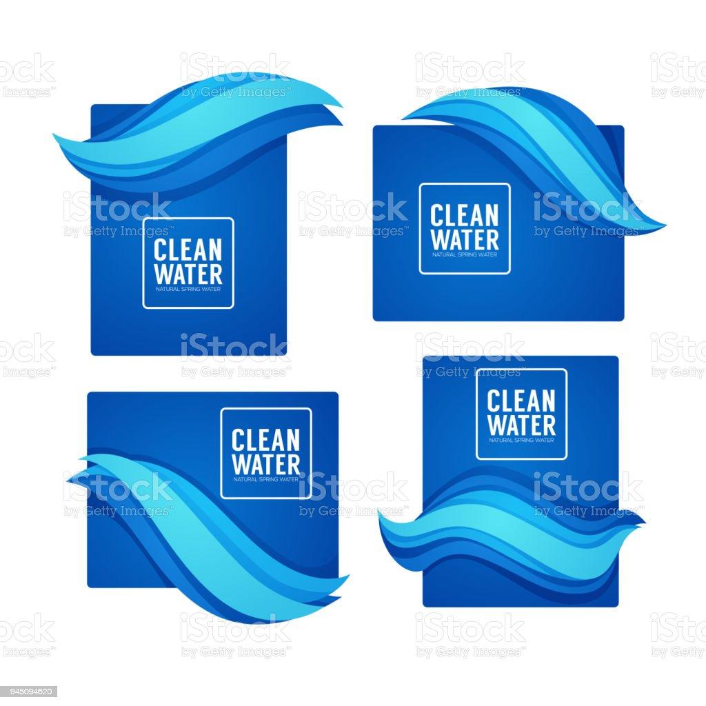 Ilustración de Papel Corte Primavera Flujo Aqua Vector Plantilla De ...