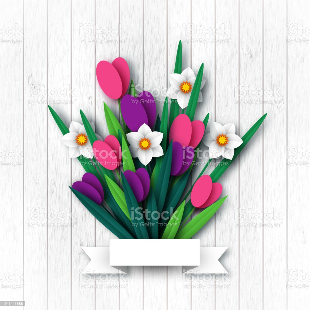 paper cut spring flowers tulip and narcissus template for greeting