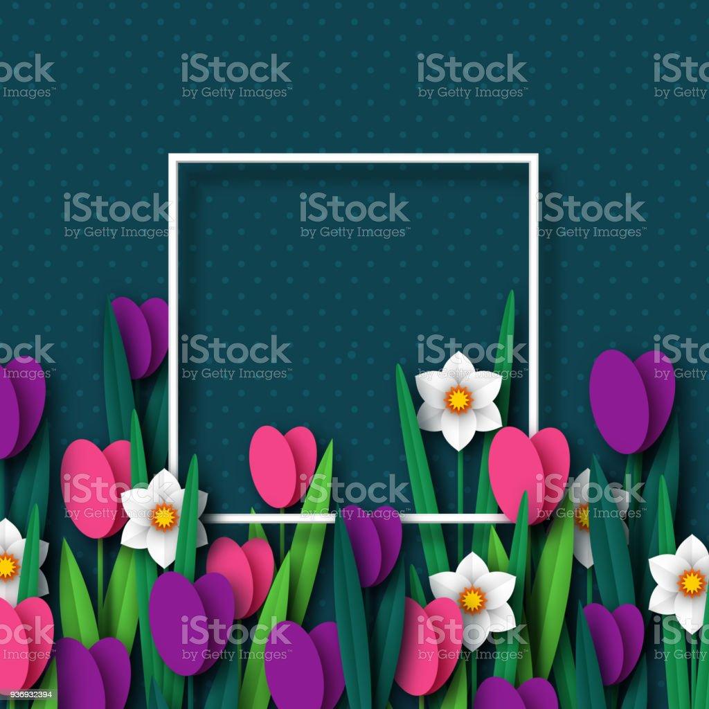 Kağıdı bahar çiçek Lale ve Nergis kesin. vektör sanat illüstrasyonu