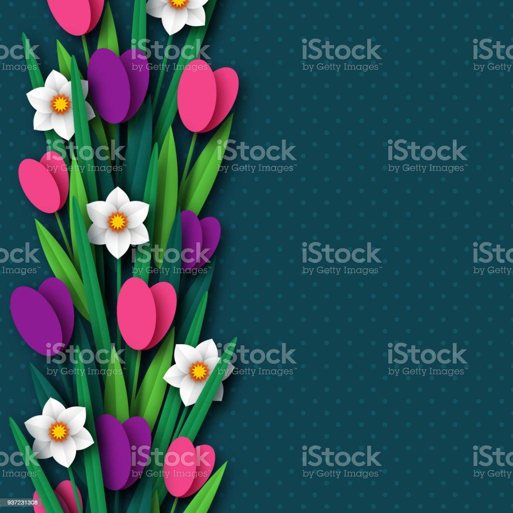 Papier Decoupe Narcisses Et Tulipes De Fleurs De Printemps
