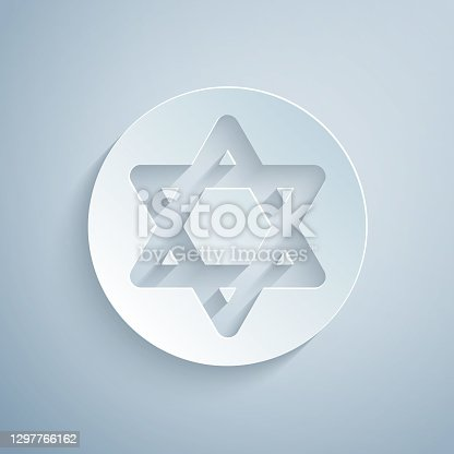 istock Paper cut Star of David icon isolated on grey background. Jewish religion symbol. Symbol of Israel. Paper art style. Vector 1297766162