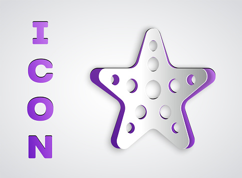 Paper cut Starfish icon isolated on grey background. Paper art style. Vector