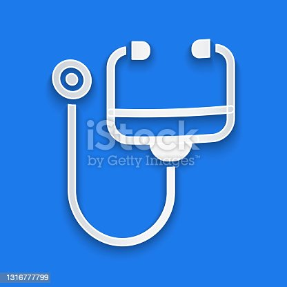 istock Paper cut Stethoscope medical instrument icon isolated on blue background. Paper art style. Vector 1316777799