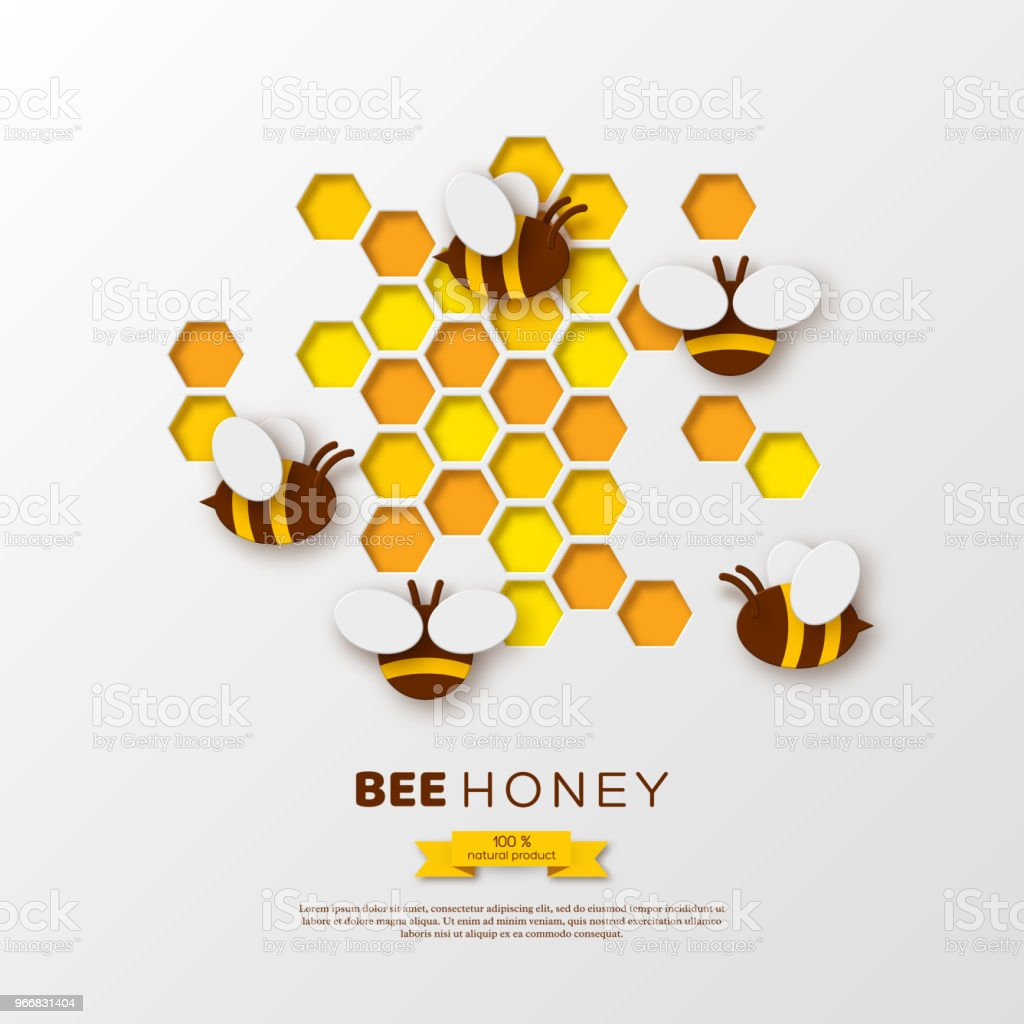 Paper cut style bee with honeycombs. Template design for beekiping and honey product. White background, vector illustration. vector art illustration