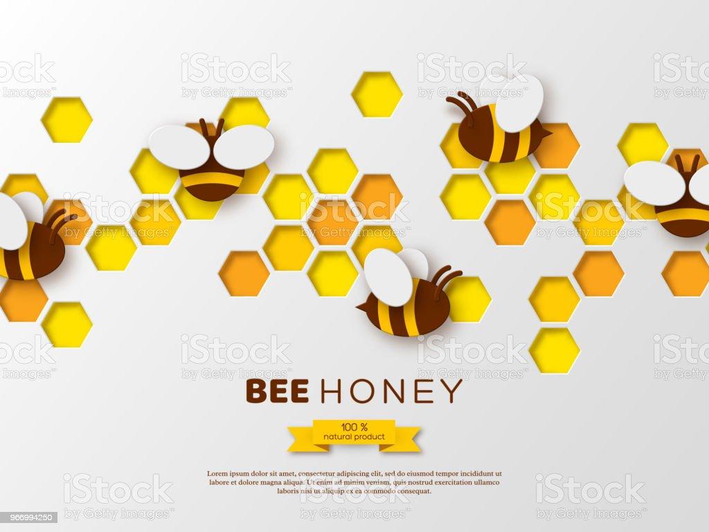 Scherenschnittstil Biene Mit Waben Templatedesign Für Beekiping Und