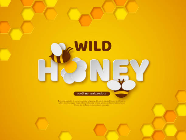 Paper cut style bee with honeycombs. Paper cut style bee with honeycombs. Typographic design for beekeeping and honey product. Orange background, vector illustration. beekeeper stock illustrations