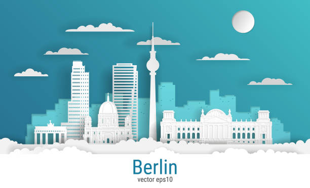 Paper cut style Berlin city, white color paper, vector stock illustration. Cityscape with all famous buildings. Skyline Berlin city composition for design Paper cut style Berlin city, white color paper, vector stock illustration. Cityscape with all famous buildings. Skyline Berlin city composition for design berlin stock illustrations