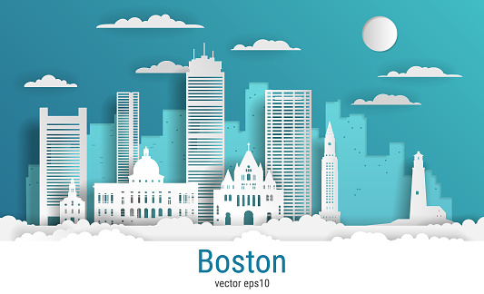 Paper cut style Boston city, white color paper, vector stock illustration. Cityscape with all famous buildings. Skyline Boston city composition for design