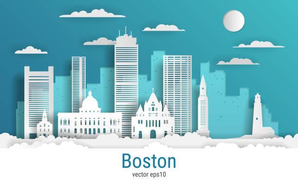 stockillustraties, clipart, cartoons en iconen met papier gesneden stijl boston city, witte kleur papier, vector stock illustratie. stadsgezicht met alle beroemde gebouwen. skyline boston city samenstelling voor design - boston massachusetts