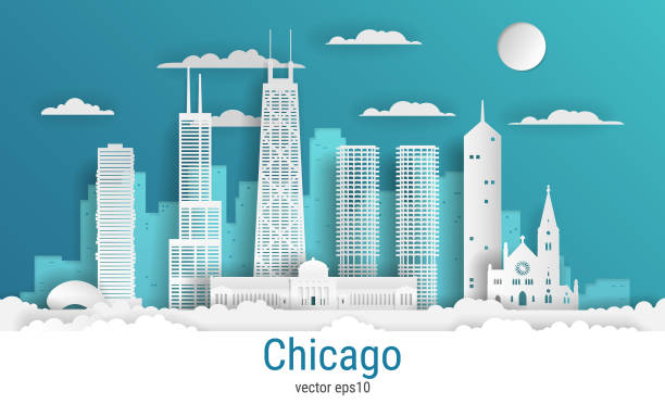 paper cut style chicago city, white color paper, vector stock illustration. cityscape with all famous buildings. skyline chicago city composition for design - architecture silhouettes stock illustrations