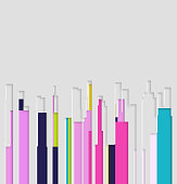 paper cut style color modern city building pattern background