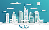 Paper cut style Frankfurt city, white color paper, vector stock illustration. Cityscape with all famous buildings. Skyline Frankfurt city composition for design