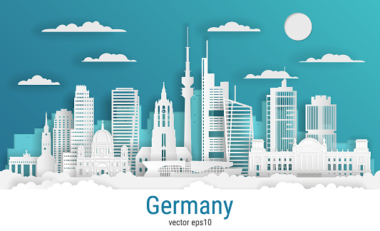 Paper cut style Germany, white color paper, vector stock illustration. Cityscape with all famous buildings. Skyline Germany composition for design