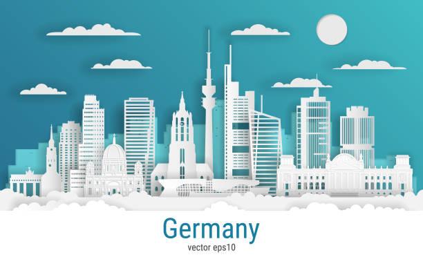 종이 컷 스타일 독일, 백색, 색깔 종이, 벡터 스톡 일러스트. 모든 유명한 건물과 도시. 독일 스카이라인 디자인 용 조성 물 - 독일 stock illustrations
