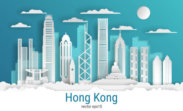 illustrazioni stock, clip art, cartoni animati e icone di tendenza di paper cut style hong kong city, white color paper, vector stock illustration. cityscape with all famous buildings. skyline hong kong city composition for design - hong kong