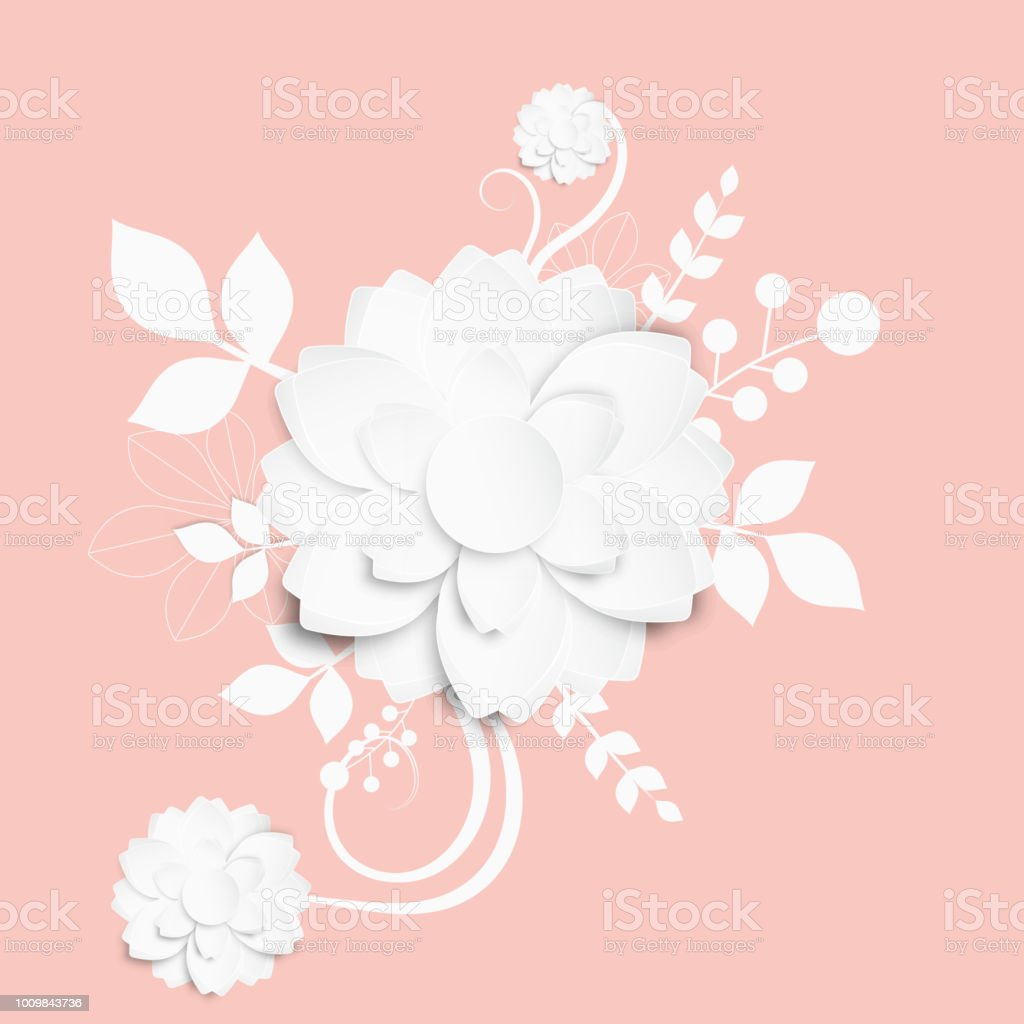 Paper Cut Style Illustration Of White Flower Designs On Pink
