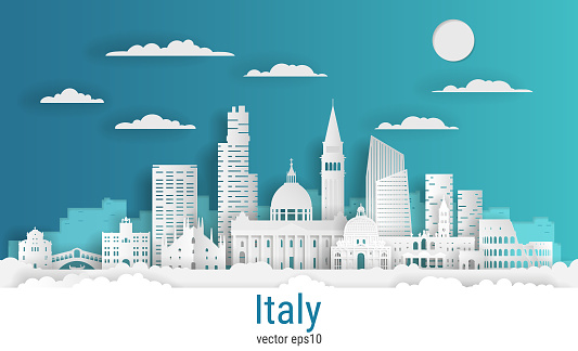 Paper cut style Italy, white color paper, vector stock illustration. Cityscape with all famous buildings. Skyline Italy composition for design